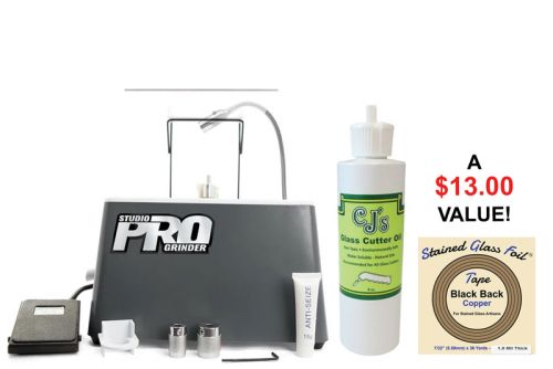 08177-Deluxe Studio Pro Grinder with Light w/ FREE CJ's Cutting Oil & Black Back Foil