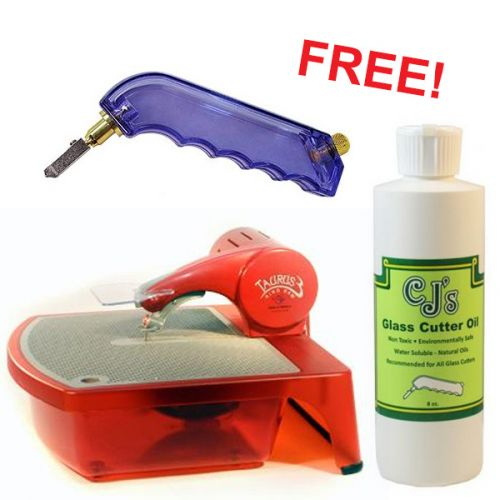 08811-Taurus 3 Glass Diamond Wire Saw w/ FREE 8oz. CJ's Glass Cutting Oil & Value Glass Cutter