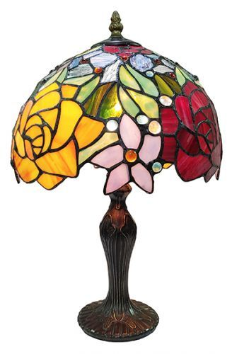 83100-Rose Tiffany Stained Glass Shade & Lamp Base