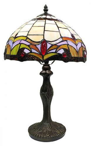 83124-Fleur de-Lis Pattern Tiffany Stained Glass Shade & Lamp Base