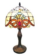 83110-Anthea Pattern Tiffany Stained Glass Shade & Lamp Base