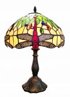 83112-Dragonfly Pattern Tiffany Stained Glass Shade & Lamp Base